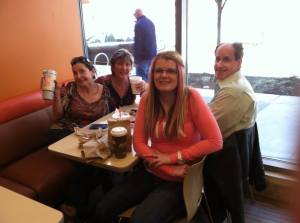Me, Lori, Rob and Kristin at Dunkin Donuts- (taking the picture DAVID)