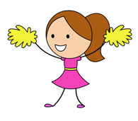 cheerleader with yellow pom pom